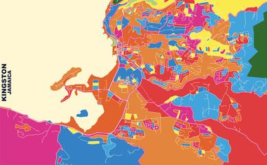 Kingston, Saint James, Jamaica, colorful vector map