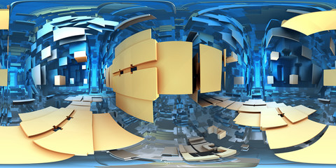 Wall Mural - 360 degree alien labyrinth, abstract maze background, equirectangular projection, environment map. HDRI spherical panorama.