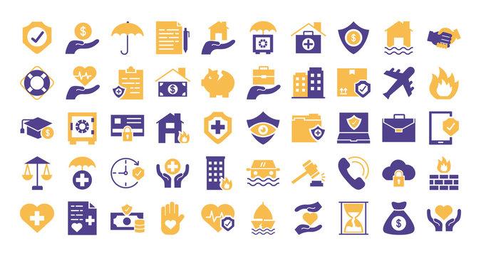 bundle of insurance set icons