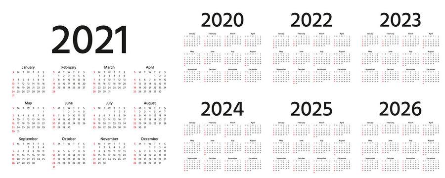 Calendar 2021, 2022, 2023, 2024, 2025, 2026, 2020 years. Vector illustration. Simple template.