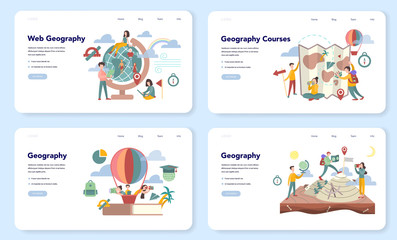 Geography web banner or landing page set. Global science studying
