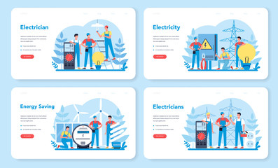Electricity works service web banner or landing page set. Professional
