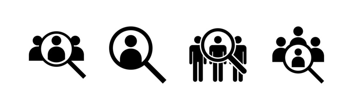 Hiring icons set. Human resources concept. Recruitment. Search job vacancy icon. Hire. Find people icon