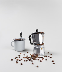 Photo Blinds Coffee beans Moka coffee maker overfilled with fresh roasted spilling beans on minimal gray background