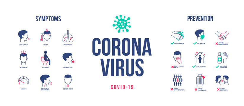 Coronavirus design with infographic elements. Coronavirus symptoms and prevention. Novel coronavirus 2019-nCoV banner. Covid-19 pandemic. Vector illustration.