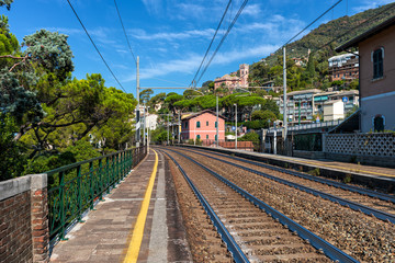 Small outdoor railway station in Recco, Italy.
