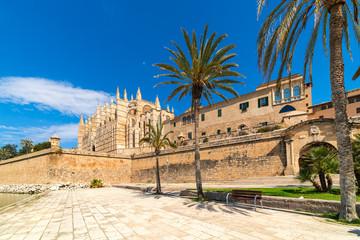Cathedral of Santa Maria of Palma under blue sky.