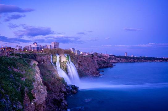 The beautiful sunset scene of Duden waterfall at Antalya, Turkey