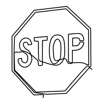 one line continuous drawing stop sign