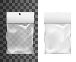 Plastic foil bag with hole in paper clip, vector realistic 3d mockup. Transparent plastic bag package, products display doypack pouch and sachet pack