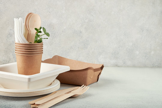 Biodegradable disposable tableware. Paper plates, cups, boxes. Wooden cutlery.