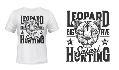 African safari hunting, vector t-shirt print with wild leopard animal. Hunting sport club and safari adventure leopard panther muzzle head with stars symbol for t shirt Wall mural
