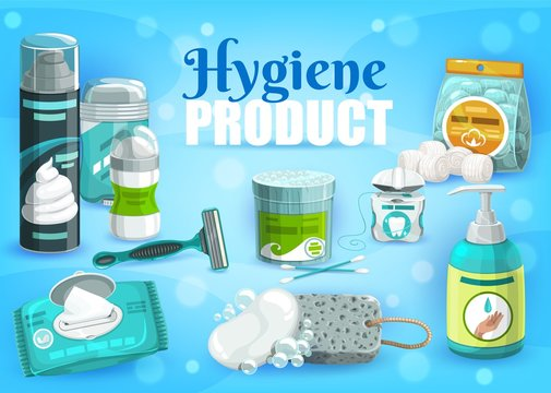 Hygiene personal health care products, man and woman daily use vector items. Shaving razor, foam and gel, deodorant antiperspirant, dental floss and cotton swabs, liquid soap wash and wet towels
