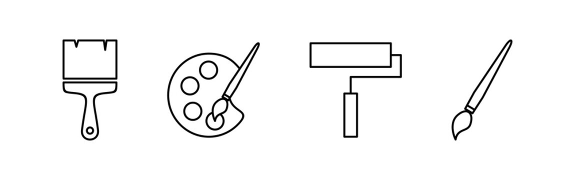 Paint icons set. Paint brush vector icon. Paint roller icon