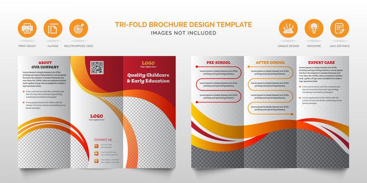 Professional corporate modern red multipurpose tri-fold brochure or best business trifold brochure design template