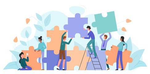 Teamwork, startup character flat vector illustration business concept with giant puzzle. Teamwork partnership metaphor. Team building training, project management, group motivation, brainstorming Fotobehang
