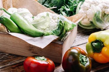 Fresh organic  homegrown cauliflower, sustainable living