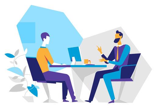 Venditore e cliente in ufficio