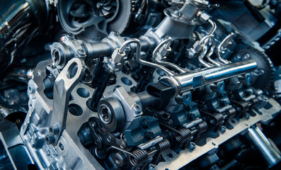 The powerful engine of a car. Internal design of engine. Car engine part. Modern powerful car engine. Fotomurales