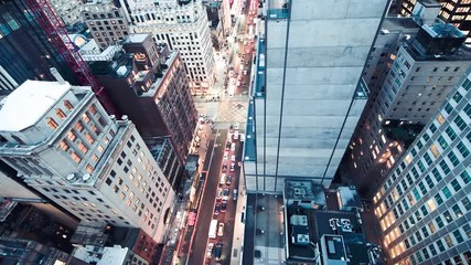 Wall Mural - Slow motion aerial overhead view of Manhattan night traffic in slow motion, New York City, USA