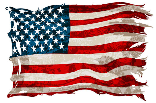 An old, shabby American flag. Detailed realistic illustration.