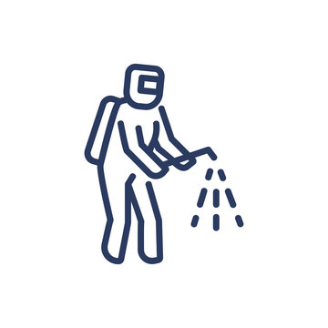 Disinfection worker thin line icon. Sterilization, cleaning, uniform isolated outline sign. Healthcare and virology concept. Vector illustration symbol element for web design and apps