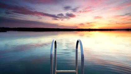 Fototapete - Sommerabend am See