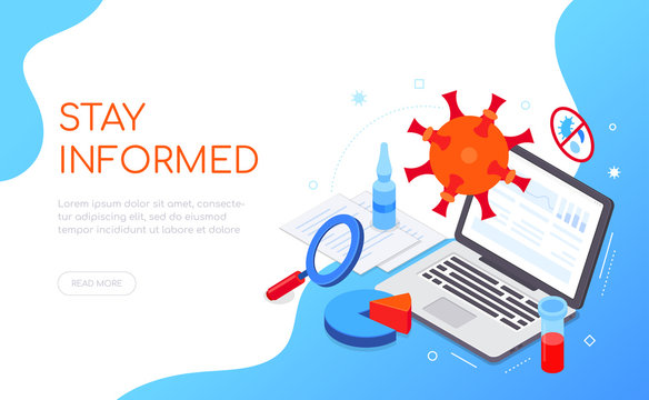 Stay informed advice - colorful isometric web banner