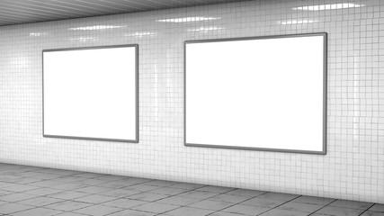Blank light boxes on white tiles wall Fotomurales