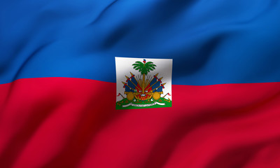 Flag of Haiti blowing in the wind. Full page Haitian flying flag.