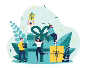Fototapeta Happy friends celebrating birthday with present boxes. People giving gifts in party surprise. Vector illustration for Christmas, festive event, holiday concept