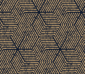Fotorolgordijn Geometrisch Abstract geometric pattern with stripes, lines. Seamless vector background. Gold and dark blue ornament. Simple lattice graphic design