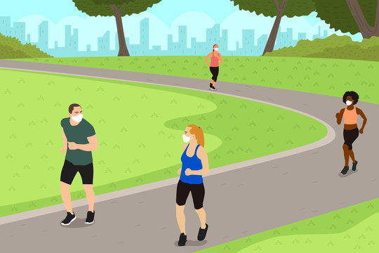 People Exercise in the Park While Practicing Social Distancing Illustration