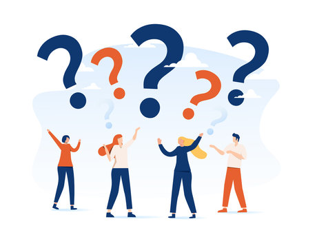 Vector illustration, concept illustration of people frequently asked questions around question marks, answer to question metaphor