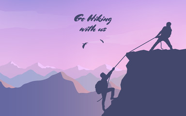 Adventure in the mountains. Assist a friend when climbing to the top. Hand of support. Friendship. Silhouette traveling people. Climbing on mountain. Vector illustration hiking and climbing team