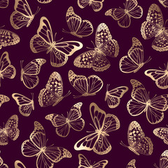 Vector seamless pattern with gold butterflies silhouettes on purple background