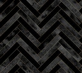 Seamless abstract zigzag geometric herringbone pattern with watercolor and gold lines on black background