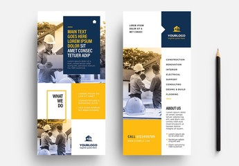 Blue and Yellow DL Flyer Layout for Construction Trades