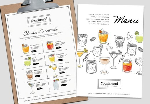 Bar Menu Layout with Watercolor Cocktail Illustrations