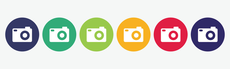Set collection 6 buttons photo camera icon.