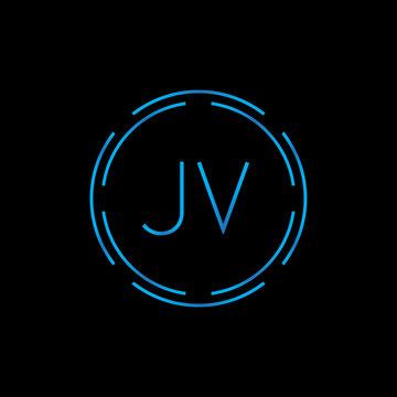 Creative letter JV Logo Design Vector Template. Digital Linked Letter JV Logo Design