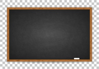 Rubbed out dirty chalkboard. Realistic black chalkboard with wooden frame isolated on transparent background. Empty school chalkboard for classroom or restaurant menu. Template blackboard for design