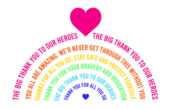 Rainbow thank you card or banner design. Thank you to all health workers rainbow abstract message. Giving back gratitude card for national health service workers.