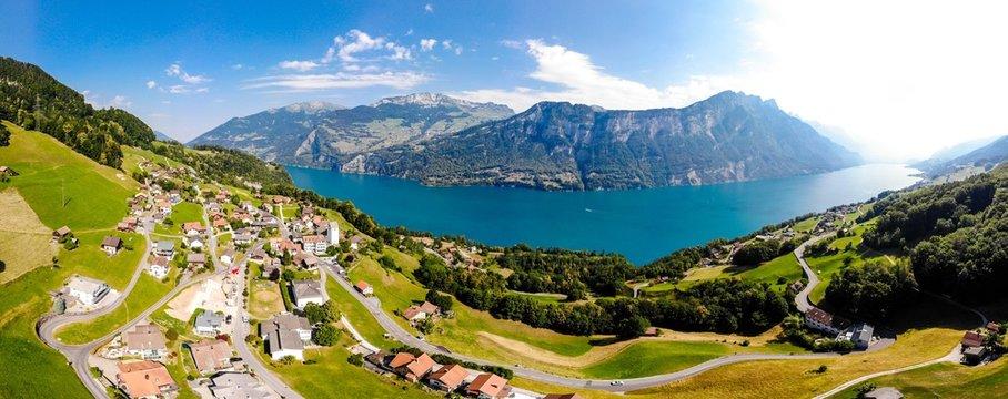 Aerial panoramic view on Walensee (Lake Walen), Amden, Beltis from Obstalden. Canton St. Galen, Glarus, Switzerland