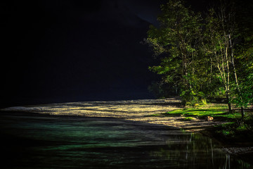Fototapete - Lake Front Beach at Night