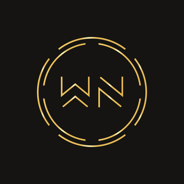 Creative Letter WN Logo Creative Typography Vector Template. Abstract Circle Letter WN Logo Design.