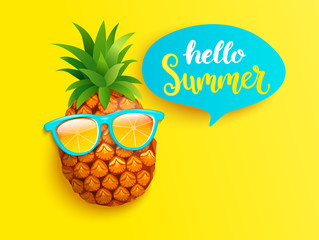 Hipster pineapple in orange sunglasses greeting summer on yellow background. Welcome banner for hot season. Hello party, fun and picnics. Bright poster with exotic fruit. Vector illustration.