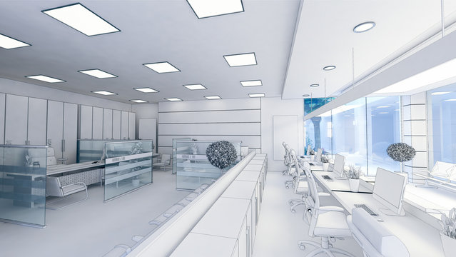 open space office perspective realistic 3D rendering