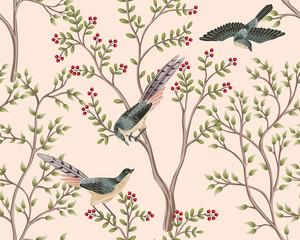 Vintage garden tree, bird floral seamless pattern pink background. Exotic chinoiserie wallpaper. - 343607917