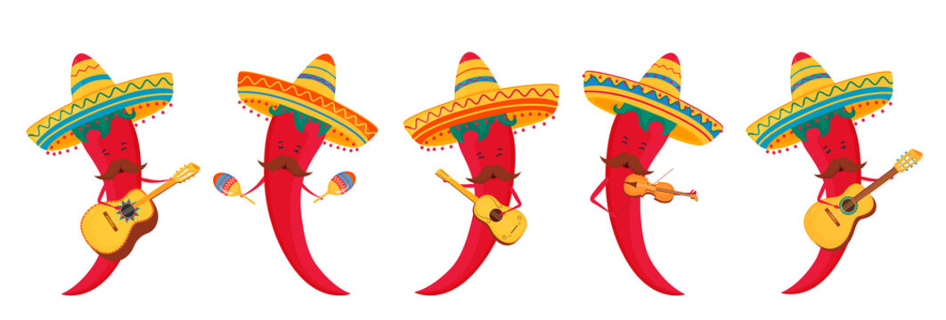 Viva Mexico hand drawn lettering. Funny chili peppers in sombrero play musical instruments guitar, violin and maracas.
